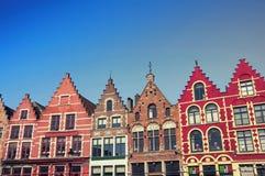 Bruges gamla byggnader Arkivfoto