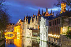 Bruges. Green canal. Green canal in Bruges and Belfry. One of the most visited tourist attractions stock images