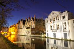 Bruges. Green canal. Stock Photos