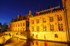 Bruges. Green canal. Royalty Free Stock Photography