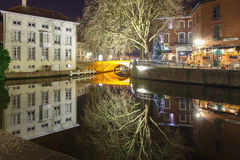 Bruges. Green canal. Stock Photo