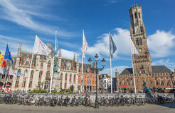 Bruges - Grote markt with the Belfort van Brugge and Provinciaal Hof building. Stock Photo
