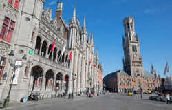 Bruges - Grote markt with the Belfort van Brugge and Provinciaal Hof building. Stock Photography