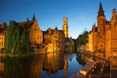 Bruges - Grote markt with the Belfort van Brugge and Provinciaal Hof buildings and memorial of Jan Breydel and Pieter De Coninck Stock Images