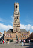Bruges - Grote markt and building of Belfort van Brugge. Royalty Free Stock Image