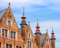 Bruges historical pitched roofs and spiers Royalty Free Stock Photos