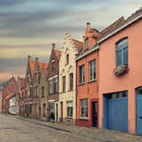 Bruges historical pitched roofs and spiers Stock Photo