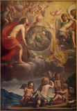 Bruges - The Holy Trinity at the creation probably by Jan Anton Garemjin (1712 - 1799) in st. Giles chruch Stock Image
