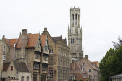 Bruges, houses and bell tower belfry Stock Image