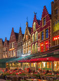 Bruges - The houses of the Grote Markt square at dusk. Royalty Free Stock Photography