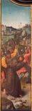 Bruges - Jesus karies hans kors av unkonwnmålaren av den Falmisch skolan i kyrka eller Katharinakerk för st Katharine Royaltyfri Bild