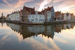 Bruges Kanałowy Spiegel Reja Zdjęcia Stock