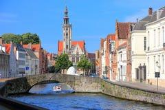 bruges kanal Belgien Europa royaltyfri foto
