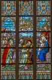 Bruges - l'adoration de la scène de Rois mages sur la vitre dans la cathédrale de St Salvator (Salvatorskerk) Images stock