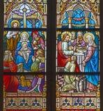 Bruges - l'adoration des Rois mages et du mariage à Image stock