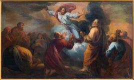 Bruges - l'ascensione della pittura di signore dal pittore sconosciuto nella chiesa di Walburga del san fotografia stock