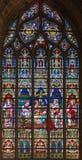 Bruges - la mort de St Hélène sur la vitre dans la cathédrale de St Salvator (Salvatorskerk) Photo libre de droits
