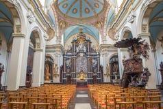 Bruges - la nef de Karmelietenkerk (église de Carmélites) par le fromk carmelite 17 de Victor van de Heilige Jacob cent Photo stock