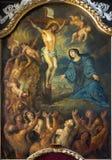 Bruges - la pittura di crocifissione dall'altare laterale nella chiesa della st Jacobs (Jakobskerk) Immagini Stock