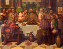 Bruges - The Last supper of Christ by Anthuensis Clakissins in st. Giles (Sint Gilliskerk). Royalty Free Stock Images