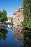 Bruges - Look from Gruuthusesstraat street to canal typically houses. Stock Image