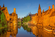 Bruges - Look to canal from Steenhouwersdijk street. Royalty Free Stock Images