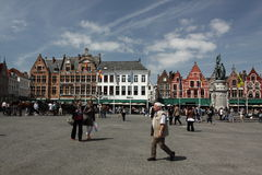 Bruges main square Royalty Free Stock Photos