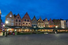 Bruges market square Grote markt at night, Belgium royalty free stock photos