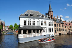 Bruges medieval buildings in Dijver canal. The medieval buildings and Hotel Duc de Bourgogne in Dijver canal, Bruges, Belgium Stock Photography