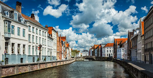 Bruges medieval houses and canal, Belgium Stock Images