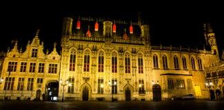 Bruges na noite fotografia de stock