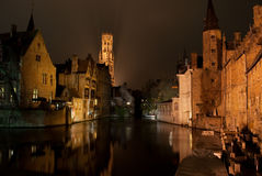 Bruges na noite Foto de Stock Royalty Free