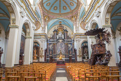 Bruges - The nave of Karmelietenkerk (Carmelites church) by carmelite Victor van de Heilige Jacob fromk 17. cent. Stock Photo