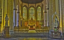 Bruges - Nave and presbytery of Saint Giles gothic church (Sint Gilliskerk). Stock Photos