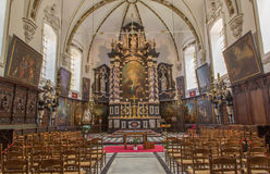 Bruges - Nave of Saint  Ann  gothic church (Sint Annakerk). Royalty Free Stock Images