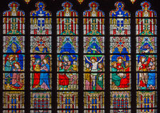 Bruges - The New Testament scenes on windowpane in St. Salvator's Cathedral (Salvatorskerk) Royalty Free Stock Image