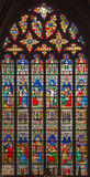 Bruges - The New Testament scenes on windowpane in St. Salvator's Cathedral (Salvatorskerk) Stock Image