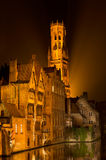 Bruges by night in Belgium Royalty Free Stock Photo