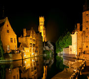 Bruges at night, Belgium Stock Photos