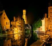 Bruges at night, Belgium Stock Photos