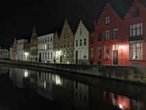 Bruges at night. Medieval city, reflexion on water. Bruges at night canal view. Medieval city, reflexion on the canals water stock photography
