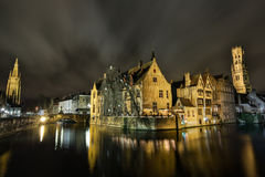 Bruges by night. Bruges in december - night on the river Stock Images