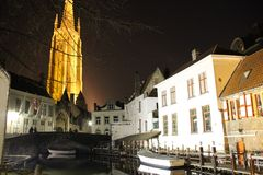 Bruges by night. Small Belgium town of Bruges, night shot Royalty Free Stock Images