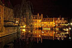 Bruges by night. View from Rozenhoedkaai Stock Photo