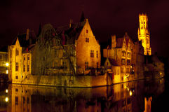 Bruges by night. View of traditional buildings and canal in Bruges, Belgium Royalty Free Stock Photography