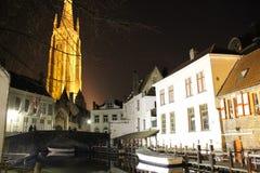 Bruges nocą Obrazy Royalty Free