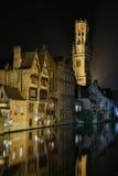 Bruges nocą Obrazy Stock
