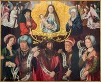 Bruges - o Exaltation da Virgem Santa pelo panter conhecido como o mestre do blod santamente na igreja do st Jacobs (Jakobskerk) Fotografia de Stock