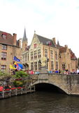 Bruges  old bridge Belgium. Because of its canals Bruges is often called 'The Venice of the North'. In the Middle Ages the 'Reie' river had been turned Stock Photography