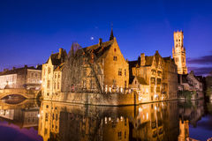 Bruges old city at night - Rozenhoedkaai Royalty Free Stock Photography